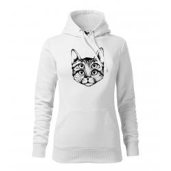 Šílená kočka - dámské bílá mikina