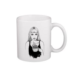 Holka s čajem - hrneček
