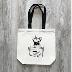 Unicorn - přírodní taška s černým uchem