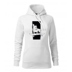 Francouzský buldoček - dámská bílá mikina